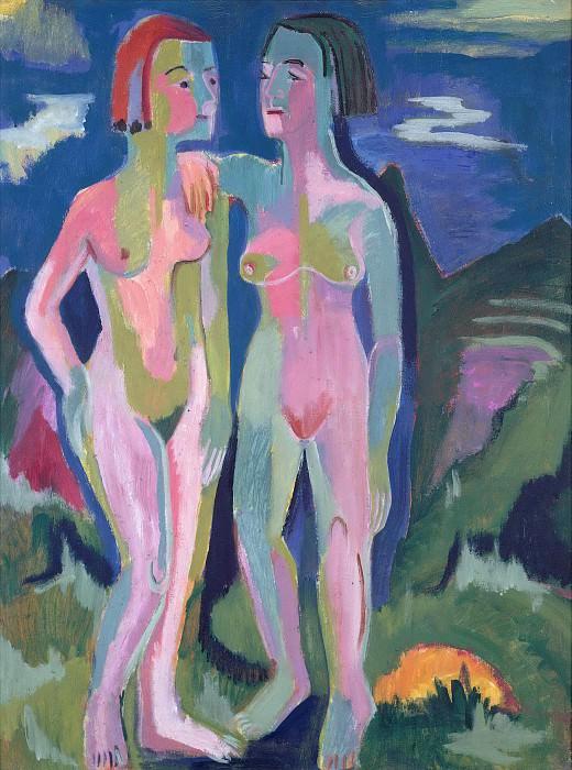 Two female nudes in landscape. Ernst Ludwig Kirchner