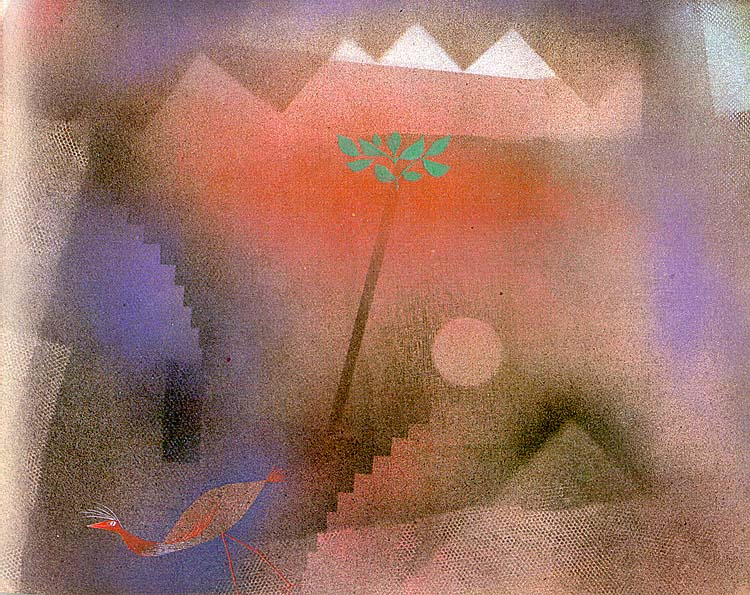 Bird Wandering Off, 1926, gouache on canvas paper mount. Paul Klee