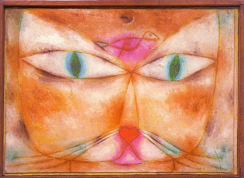 Кот и птица, 1928. Пауль Клее