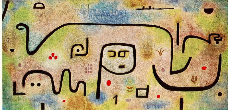 Insula Dulcamara, 1938, Oil on newsprint, mounted on bu. Paul Klee