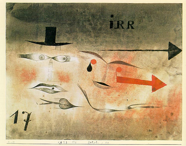 17 Astray, 1923, watercolor and India ink on paper moun. Paul Klee