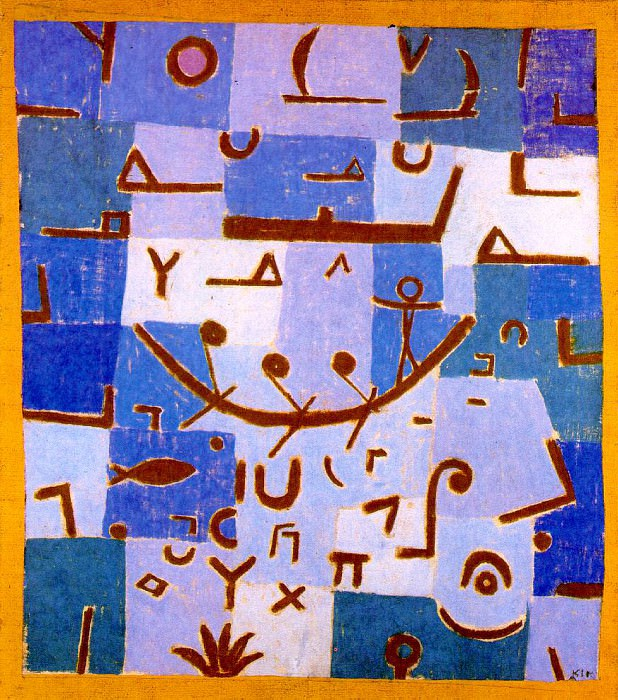 Legend of the Nile,1937, Pastel on cotton cloth mounted. Paul Klee