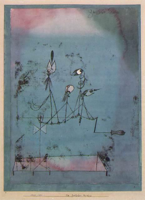 Die Zwitschermaschine (Twittering machine), 1922, Water. Paul Klee