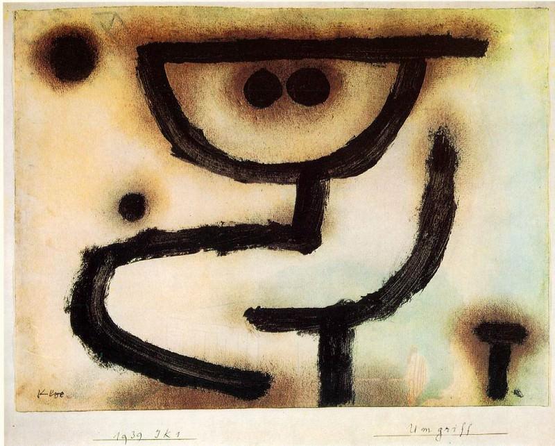 Embrace, 1939, Paste colour, watercolour and oil on pap. Paul Klee