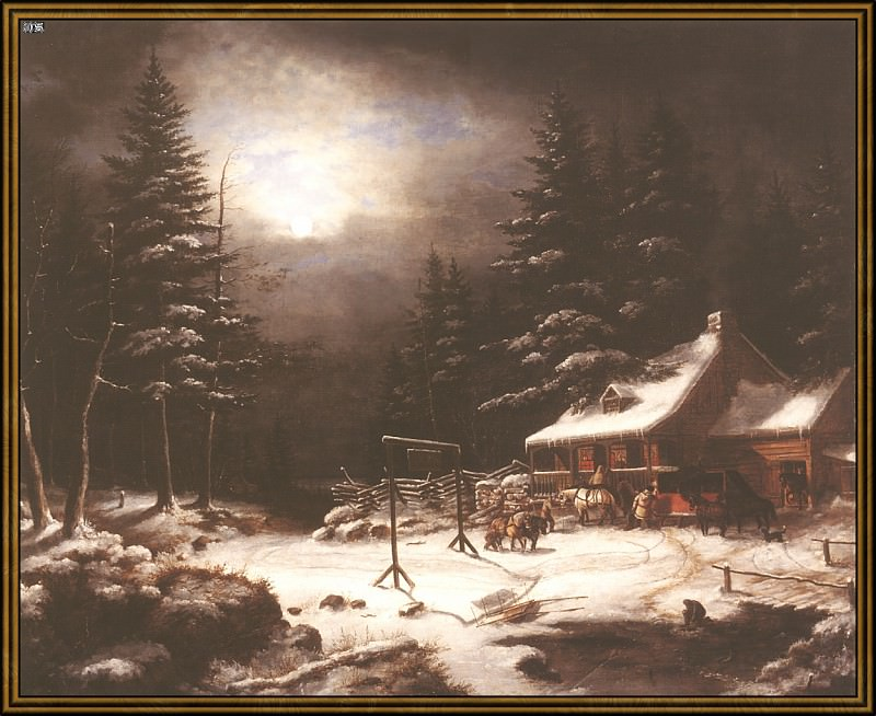 Гостиница -Белая лошадь- при лунном свете (1851). Корнелиус Кригхофф