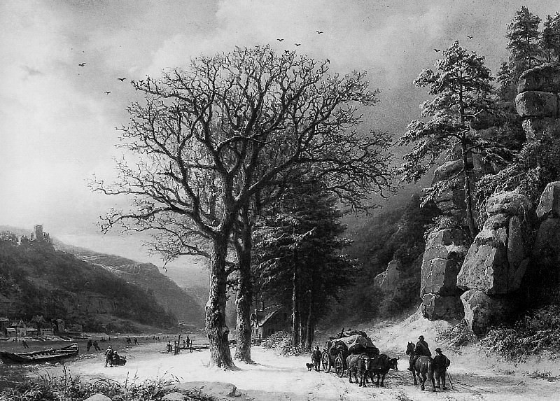 Barend Winterlandscape at the Elbe. Barend Cornelis Koekkoek