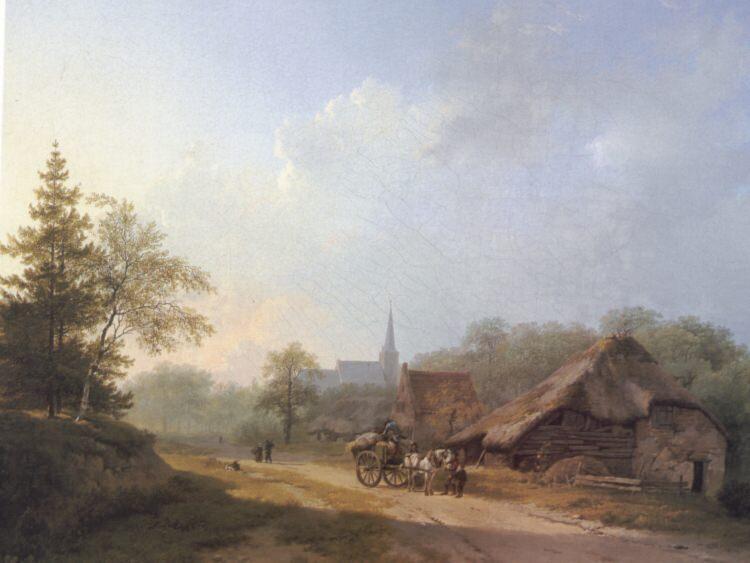 A Cart on a Country Road in Summertime. Barend Cornelis Koekkoek