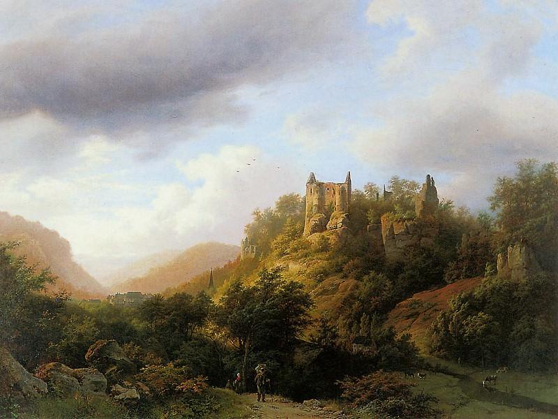 Landscape in Luxemburg castle Fels. Barend Cornelis Koekkoek