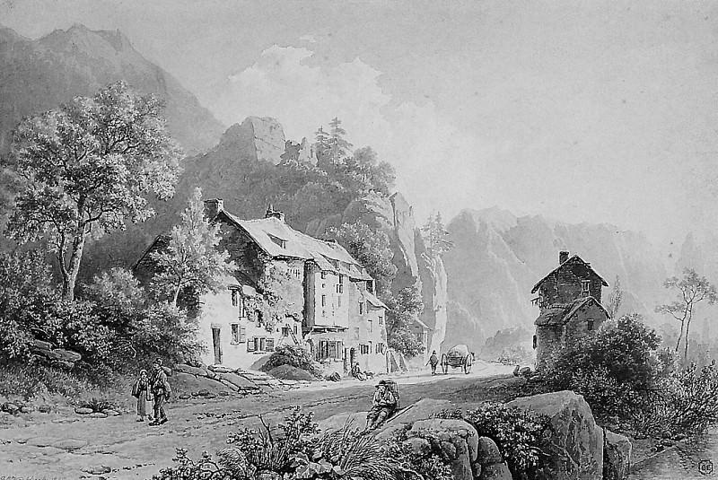 Country road in mountainous landscape. Barend Cornelis Koekkoek