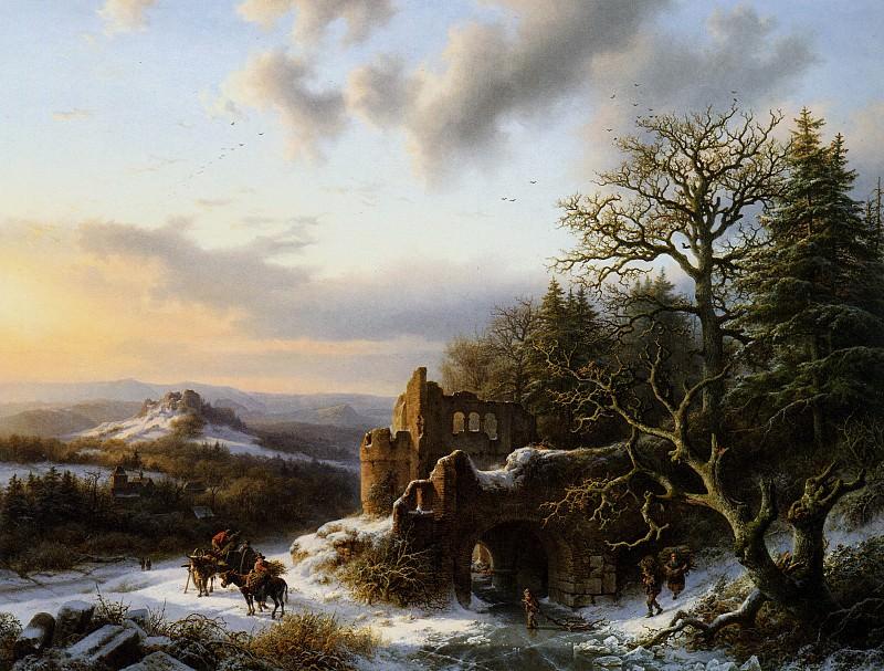 Winterlandscap with ruin L. Barend Cornelis Koekkoek