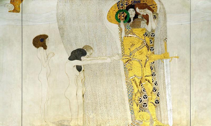 Beethoven Frieze - Suffering Humanity. Gustav Klimt