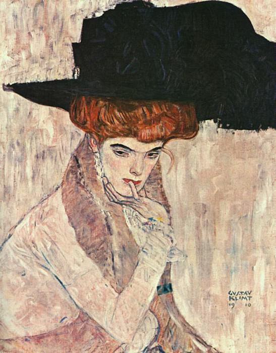 Black Feather Hat. Gustav Klimt