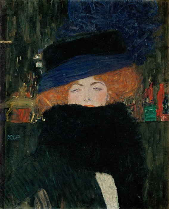 Lady with Hat and Feather Boa. Gustav Klimt