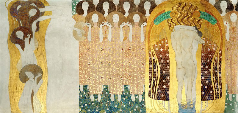 Beethoven Frieze; The Arts, Choir of Angels, Embracing Couple. Gustav Klimt