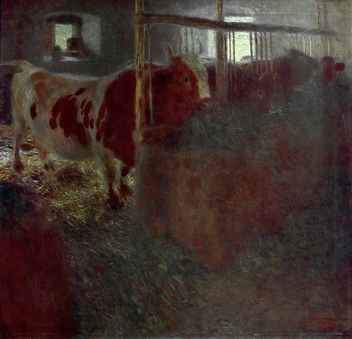 Cows in the stable. Gustav Klimt