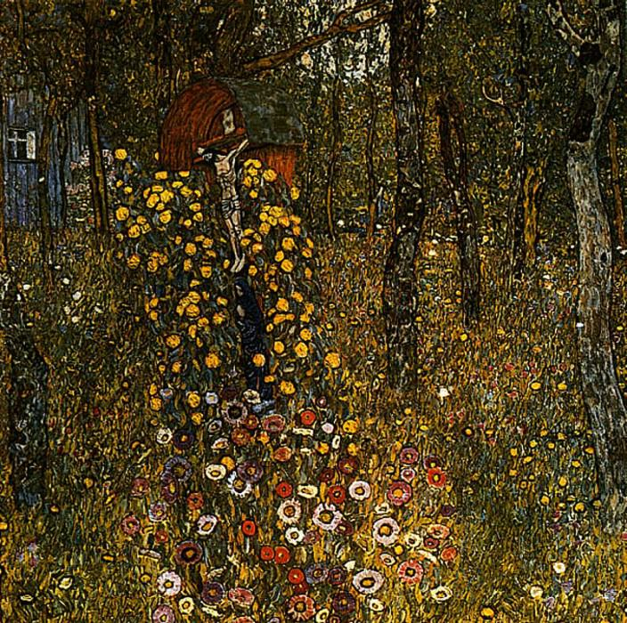 Cottage Garden with Crucifix. Gustav Klimt