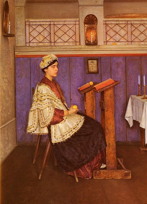 Young Woman In The Synagogue. Isidor Kaufmann