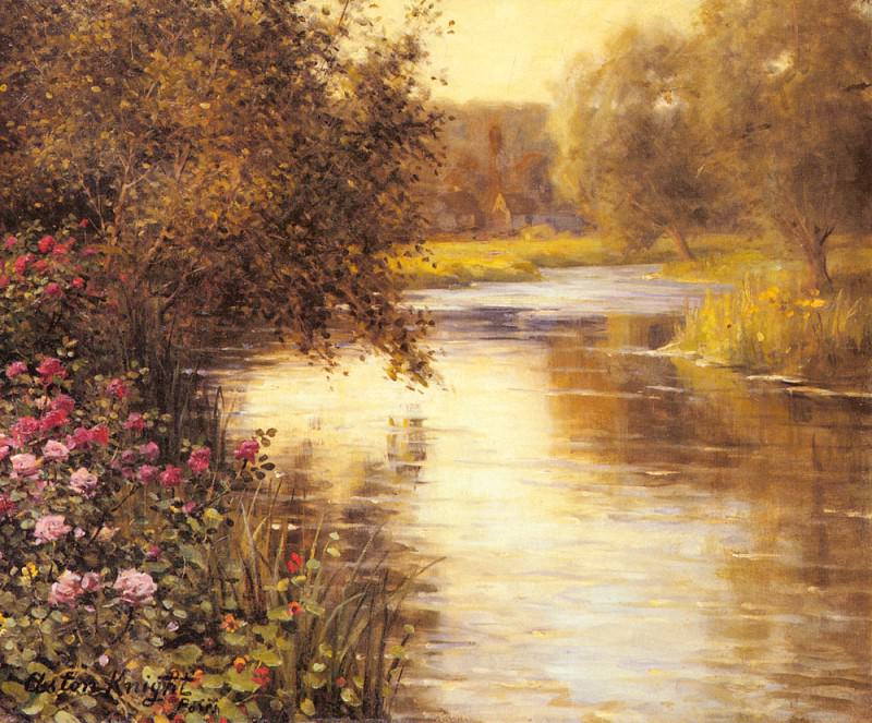 Spring Blossoms Along A Meandering River. Louis Aston Knight