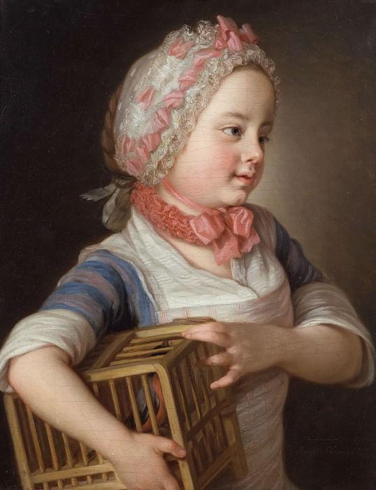 Girl with Bullfinch in a Cage. Per Krafft the Elder