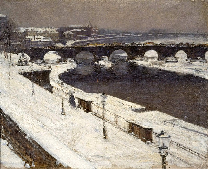 Seen Elbe and Augustus Bridge in winter by the Br. Gotthard Kuehl