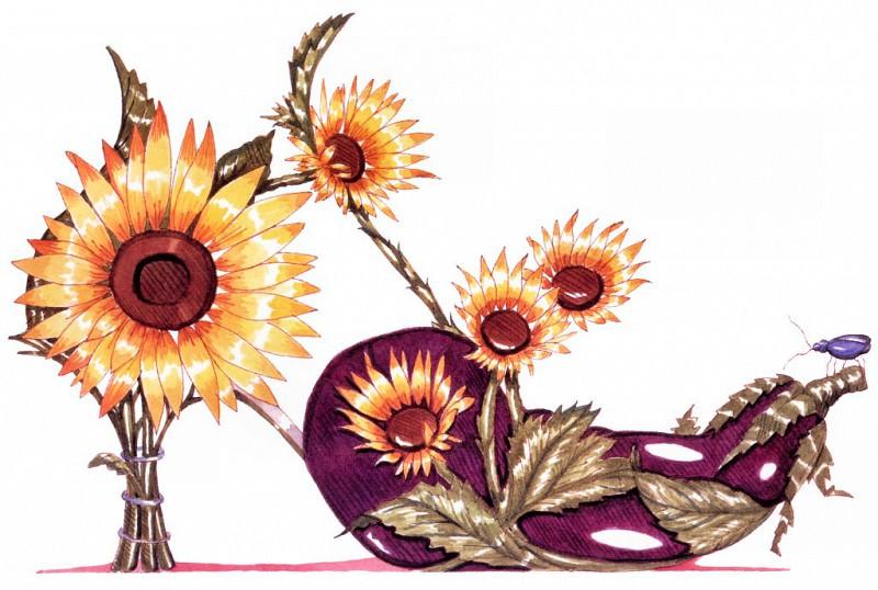 Eggplant & Sunflower. Dennis Kyte