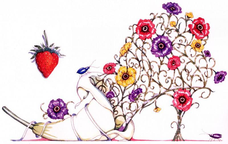 Калла, лилия, кореопсис и ягода земляники. Деннис Кайт