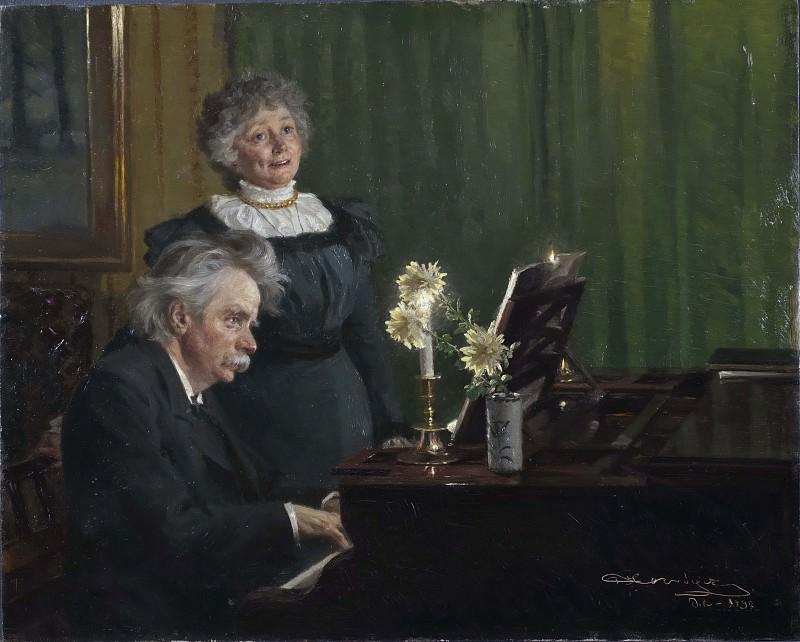 Эдвард Григ, аккомпонирующий своей жене Нине. Педер Северин Крёйер