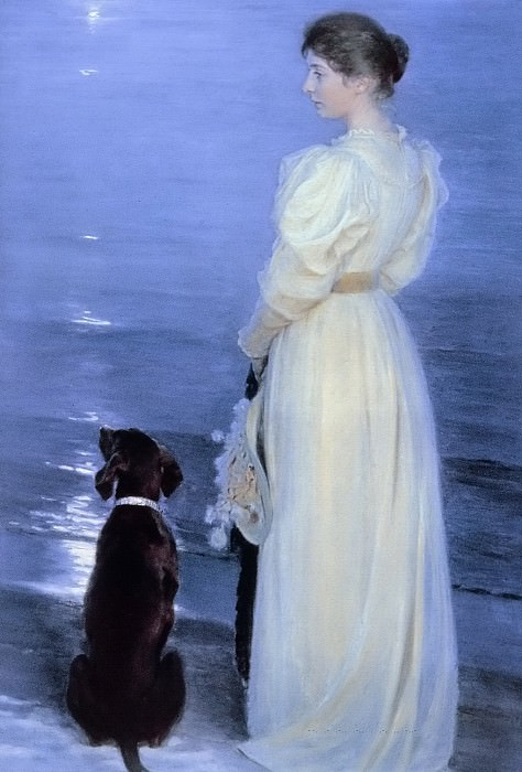 Summer Evening at Skagen, the Artist's Wife with a Dog on the Beach. Peder Severin Kroyer