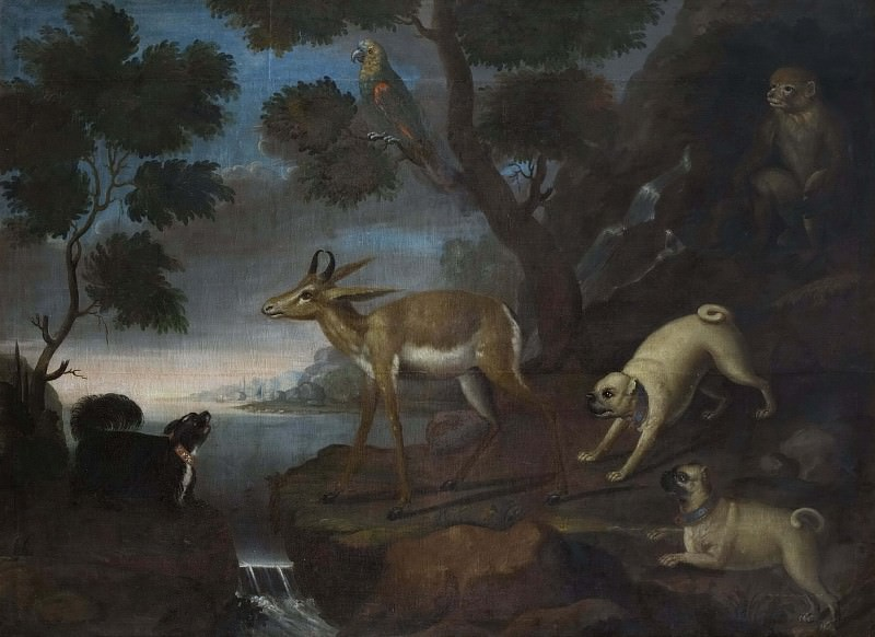 Bengalese Deer Attacked by Pugs. David Kock (Attributed)