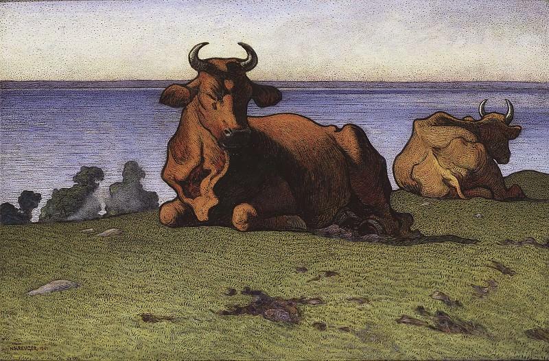 Resting Cows. Motif from Öland. Nils Kreuger