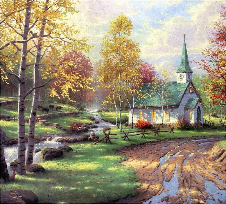 RArt SWD TK The Aspen Chapel. Thomas Kinkade