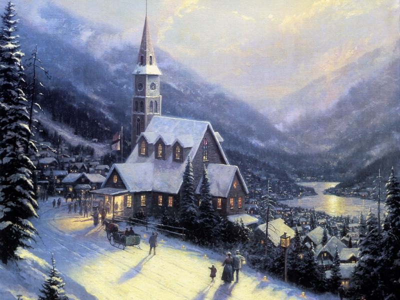 Moonlit Village. Thomas Kinkade