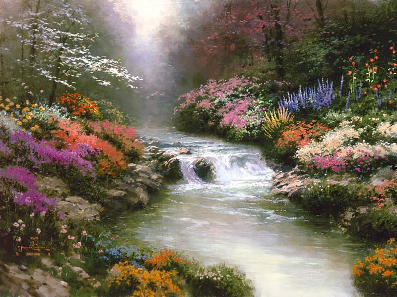 Zen 003 Beside Still Waters. Thomas Kinkade
