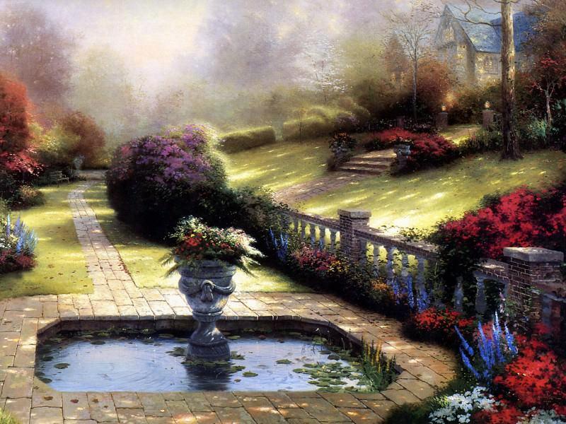 Gardens Beyond Autumn Gate. Thomas Kinkade