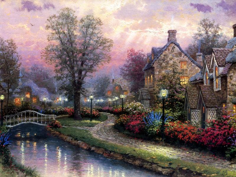 Lamplight Lane. Thomas Kinkade