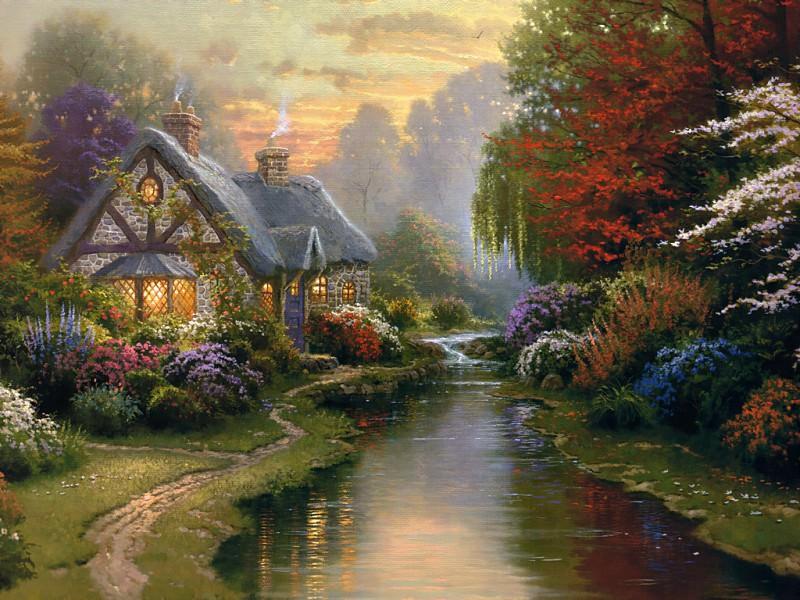 Zen 002 A Quiet Evening. Thomas Kinkade