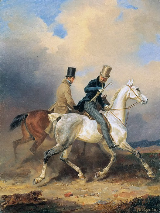 Prince Wilhelm on Horseback Accompanied by the Artist. Franz Kruger