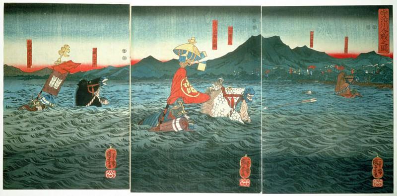 The Rival Generals fording the Ujigawa. Utagawa Kuniyoshi