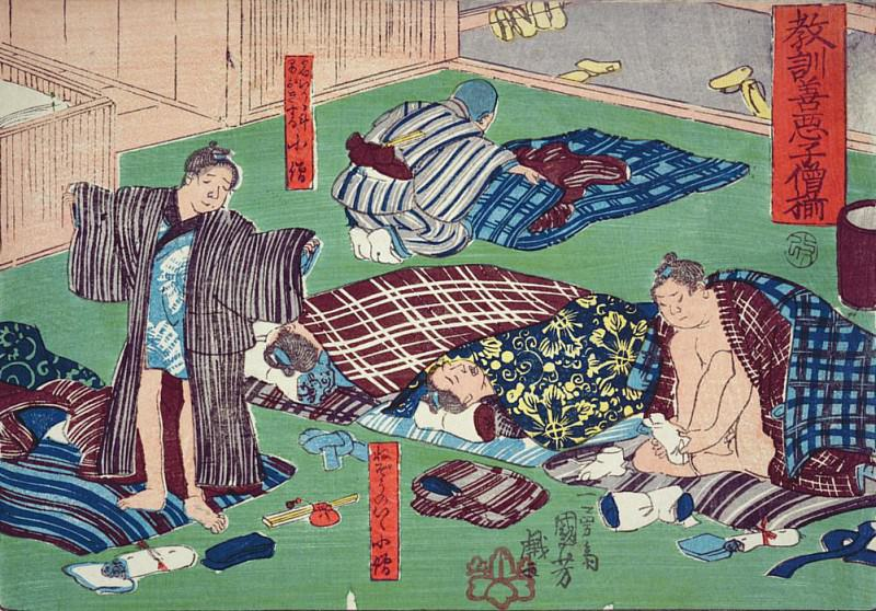 Moral teaching for shopboys, giving good and bad examples of behaviour. Utagawa Kuniyoshi