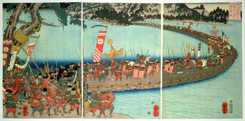 The bridge of boats at the battle of the Nagaragawa. Utagawa Kuniyoshi