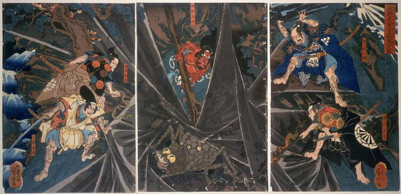 The Earth Spider slain by the hero Raikos retainers (944-1021). Utagawa Kuniyoshi