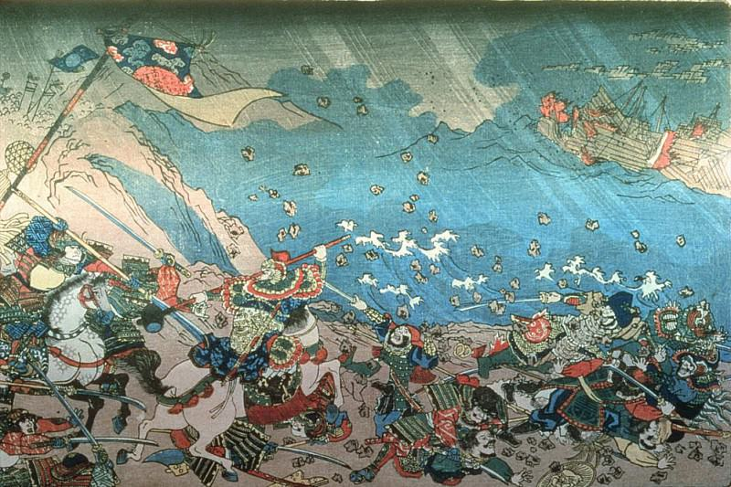 Nichiren summoning the divine Shinpu wind to destroy the Mongol-Chinese fleet attacking Japan. Utagawa Kuniyoshi