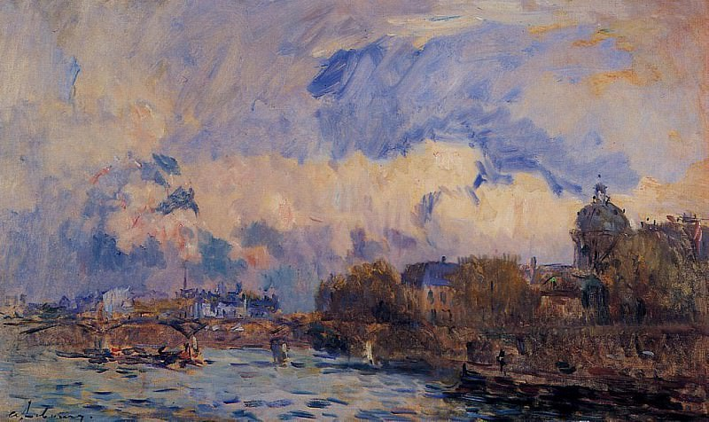 Paris the Seine at Pont des Arts and the Institute. Albert-Charles Lebourg