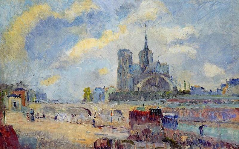 Notre Dame de Paris and the Bridge of the Archeveche. Albert-Charles Lebourg