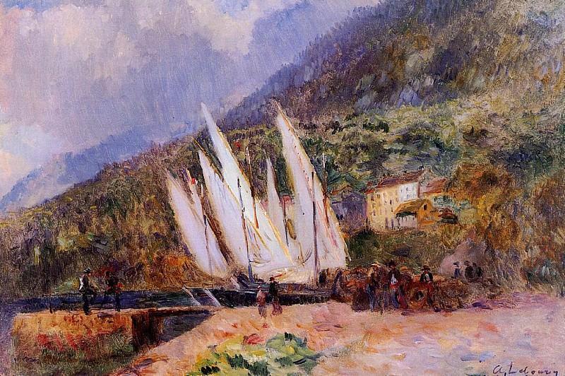 Лодки, пришвартованные в Сен-Женгольфе. Альбер-Шарль Лебур