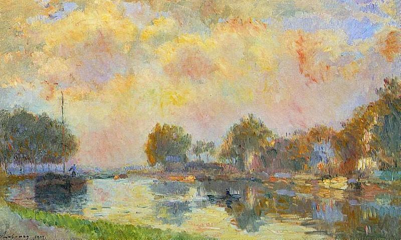 Берега канала у Шарантона в солнечный осенний день. Альбер-Шарль Лебур