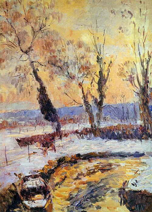 Snow at sunset. Albert-Charles Lebourg