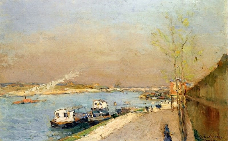 Quay on the Seine Spring Morning. Albert-Charles Lebourg
