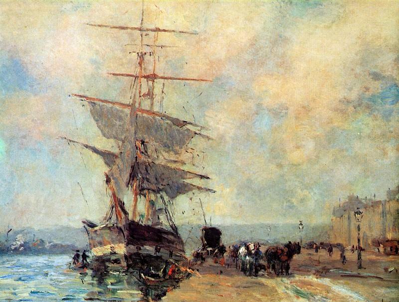 Корабль в гавани Руана. Альбер-Шарль Лебур