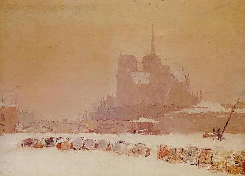 Notre Dame de Paris sous la Neige 1895. Albert-Charles Lebourg